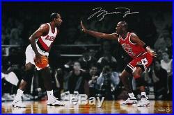 Michael Jordan Auto Autograph Signed UDA 24 x 16 Photo Faceoff vs Drexler /223
