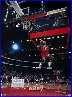 Michael Jordan Bulls Signed 30x40 1988 Slam Dunk Front Shot Photo Upper Deck
