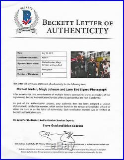 Michael Jordan Magic Bird Signed 24x36 Rare Large Photo Beckett Bas Uda Psa/dna