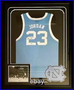 Michael Jordan Signed Autographed North Carolina Tar Heels Framed Jersey UDA JSA