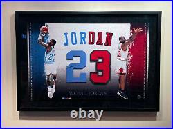 Michael Jordan Signed Framed Uda Chicago Bulls Unc 23 Jersey Numbers Upper Deck