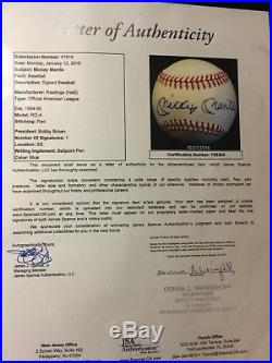 Mickey Mantle BEAUTIFUL Signed Baseball With Full JSA LETTER OF AUTHENTICITY