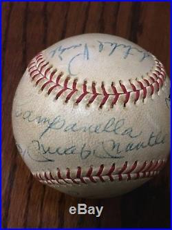 Mickey Mantle Satchel Paige Hank Aaron 12 Auto Multi-Signed Baseball JSA AOLA