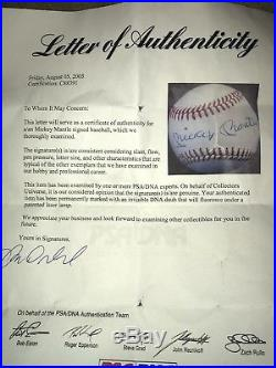 Mickey Mantle Signed Autographed Official AL Baseball, PSA/DNA COA