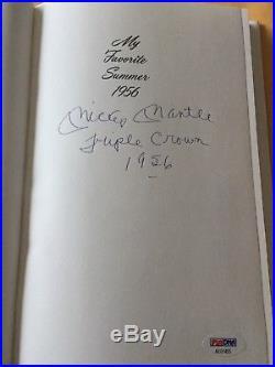 Mickey Mantle Signed Book Rare Autograph Inscription Triple Crown 1956 PSA DNA