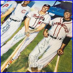 Mickey Mantle Ted Williams Willie Mays 500 Home Run Club Signed Photo PSA DNA