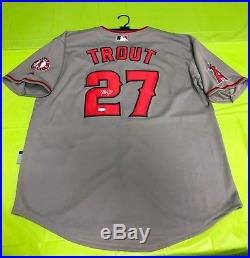 Mike Trout Signed AUTO JSA Angels Majestic On-Field Cool Base Jersey Gray MVP