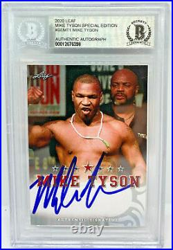 Mike Tyson Signed Leaf Trading Card #SEMT1 Beckett BAS Authentic
