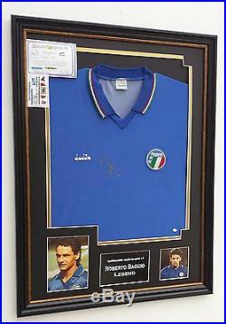 NEW Roberto Baggio Signed Shirt Autograph Display ITALY 90 Display