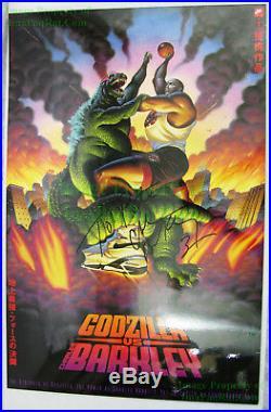 NITF SIGNED Charles Barkley Vintage NIKE Poster #5317 Vs. Godzilla Poster JAPAN