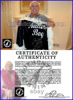 Nature Boy Ric Flair Autographed Signed Black Feathered Wrestling Robe ASI Proof