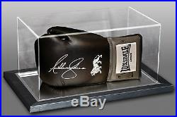 New Anthony Joshua Signed Black Boxing Glove In An Acrylic Case B