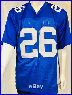New York Giants Saquon Barkley Signed Jersey Blue Auto Beckett BAS