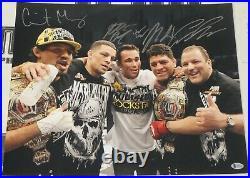 Nick & Nate Diaz Gilbert Melendez Jake Shields +1 Signed 16x20 Photo BAS COA UFC