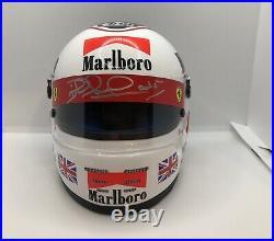 Nigel Mansell SIGNED 12 scale Ferrari helmet, full Marlboro, Official Bell, COA