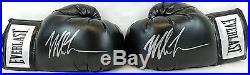 Pair of Mike Tyson Signed Black Everlast Boxing Gloves JSA Witness Autographs