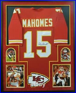 Patrick Mahomes Autographed Signed Custom Framed Suede Matted JSA Witnessed COA