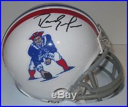Patriots RANDY MOSS Signed Throwback Mini Helmet AUTO'98 ROY HOF JSA