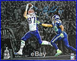 35d8d9cb4fb Patriots Rob Gronkowski Authentic Signed SB XLIX Horizontal 16X20 Photo PSA /DNA