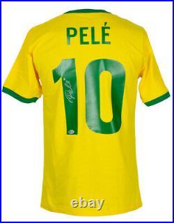 Pele Signed Yellow Brazil Soccer Jersey BAS