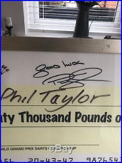 Phil Taylor Rare Signed Darts Cheque. Eric Bristow. Michael Van Gerwen