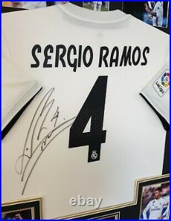 Rare Sergio Ramos Signed Shirt Autographed Jersey Display AFTAL DEALER COA