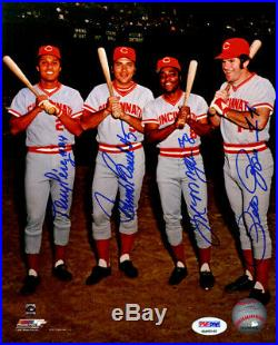 Reds Big Red Machine Autographed Signed 8x10 Photo 4 Sigs Bench Rose Psa 143916