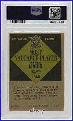 Roger Maris Signed 1961 Topps #478 New York Yankees MVP Card PSA/DNA