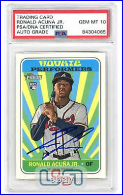 Ronald Acuna Jr. Signed 2018 Topps Rookie Performers RC #RP-RA PSA/DNA 10 Auto