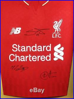 Salah, Firmino and Mane Signed Liverpool Shirt 3D Display With COA