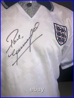 Signed England Paul Gascoigne Retro Italia 90 Home Shirt Score Draw Rangers