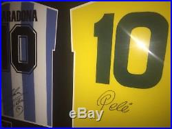 Signed Framed Retro Argentina & Brazil Dual Shirts By Diego Maradona & Pele