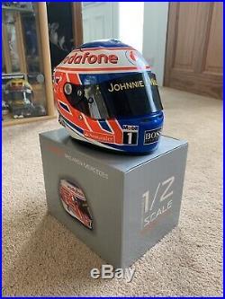 Signed JENSON BUTTON Vodafone McLaren Mercedes F1 Diecast Helmet 1/2 Scale