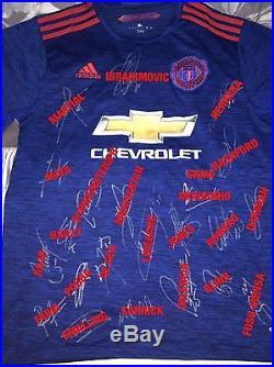 Signed Manchester United Shirt 16/17 Proof Ibrahimovic Pogba De Gea Mourinho