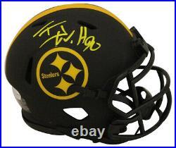 TJ Watt Autographed/Signed Pittsburgh Steelers Eclipse Mini Helmet BAS 29591