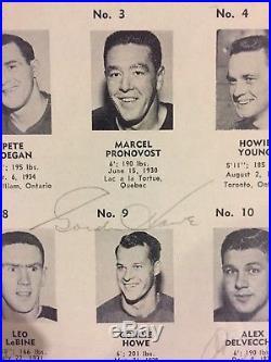 Terry SAWCHUK, HOWE + 6 Signed PSA DNA 1961 Detroit Program EXTREMELY RARE SP