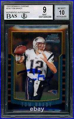 Tom Brady Signed 2000 Bowman Chrome Rookie Card BGS 9 Gem 10 Auto 13060288