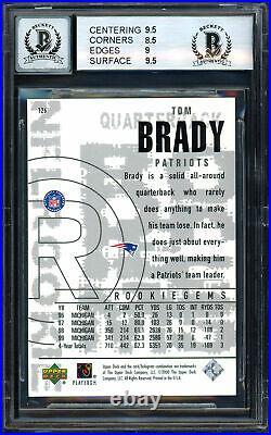 Tom Brady Signed 2000 UD Black Diamond Rookie Card BGS 9 Gem 10 Auto 13060452