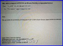 WAYNE GRETZKY SIGNED UPPERDECK UDA LOS ANGELES KINGS JOFA HELMET AUTOGRAPH withCOA