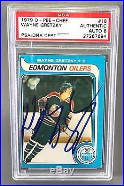 Wayne Gretzky Signed 1979 O-pee-chee Rookie Card Psa Auto Grade Near Mint 8