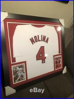 Yadier Molina Signed Framed Baseball Jersey With Beckett COA auto Autograph